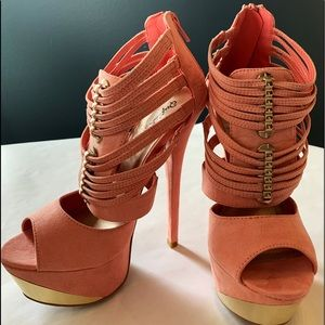 Pink/Coral 6 inch heel with gold accents.